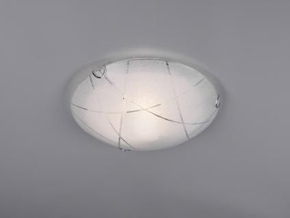 LED Deckenschale Ø30cm aus Glas in weiß mit dezenten Streifen Dekor Dielenlampe
