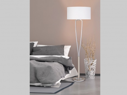 Klassische Stehlampe mit rundem Textil Schirm in weiß, Höhe 160cm - Flurlampen
