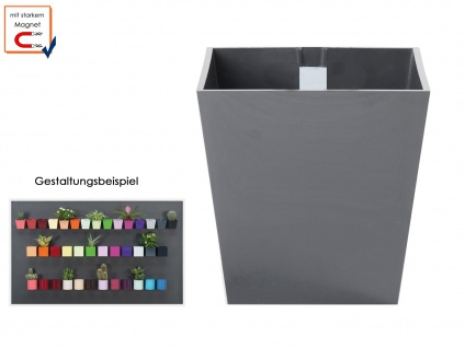 Kunststofftopf mit Magnet Ø 9 cm Grau, Wandaufbewahrung Wanddeko, KalaMitica