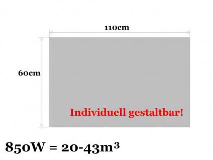 Paneelheizung, Infrarotheizung 850W, 110x60 cm, Hochglanz weiß, Vitalheizung