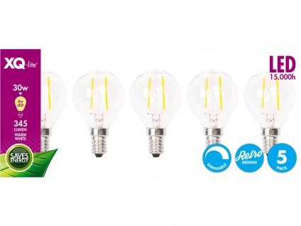 XQ-Lite 5er-Set Filament LED Leuchtmittel Globe E14, 4W, 345 Lumen, dimmbar