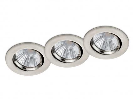 3 runde LED Einbaustrahler Decke Ø 8, 5cm schwenkbar dimmbar Nickel matt 5, 5W