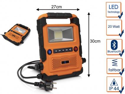 20Watt LED Baustrahler & Baustellenradio mit Bluetooth - Arbeitsleuchte Baulampe