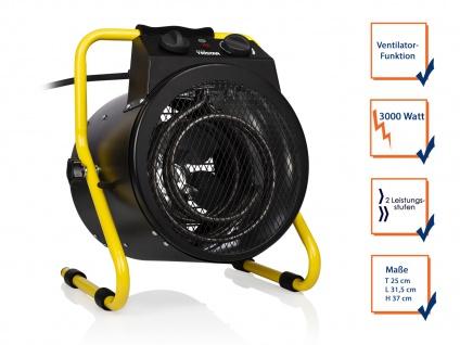Mobile 3000W Baustellenheizung Elektroheizgebläse mit Ventilator & Thermostat