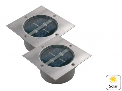 2er Set Solar Einbaustrahler Außen mit Tag / Nacht Sensor Bodeneinbauleuchten