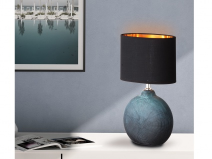 LED Tischlampe Keramik grün schwarz mit Stoffschirm oval innen kupfer, Höhe 53cm