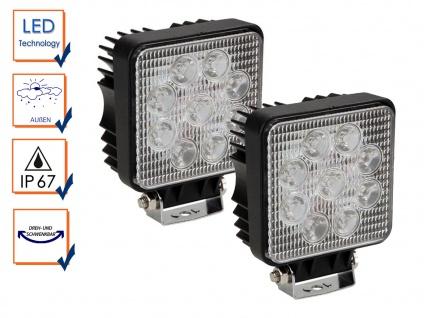 2er Set 27 Watt LED Wandstrahler schwarz, IP67 Außenfluter zur Außenbeleuchtung