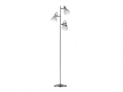 Klassische LED Stehlampe in Nickel matt, 3 Glaslampenschirme dreh-und schwenkbar
