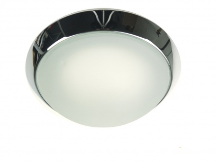 LED Wohnraumleuchte Ø25cm Glas satiniert Klarrand Chrom-Ring LED Kellerleuchte