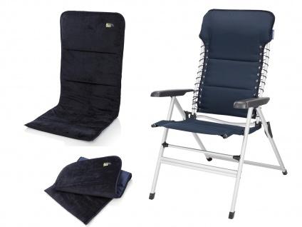 ALU Campingstuhl Hochlehner verstellbar & klappbar Klappliegestuhl + Sitzauflage - Vorschau 2