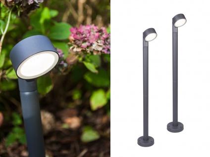 2 moderne LED Pollerleuchten mit 150° drehbarem rundem Kopf ALU Anthrazit 9, 3cm?
