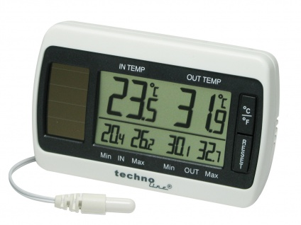 Thermometer, Innen- & Außentemperatur, MIN/MAX Speicher, weiß-grau - Vorschau 2