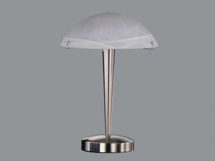 Trio Tischlampe -Touch me-, E14, Höhe 38cm, Nickel, Glas alabaster