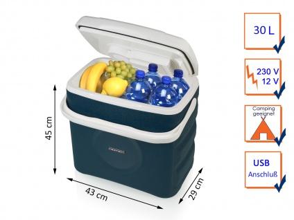 Thermoelektrische Kühlbox in blau 30 Liter 12/230 Volt - USB Anschluß