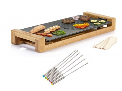 Teppanyaki Grillplatte für Zuhause Balkon, elektrischer Tischgrill mit 6 Gabeln