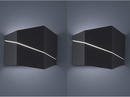 2er SET Wandstrahler up&down in schwarz matt 18x14, 5x6, 5cm, Schlafzimmerleuchten
