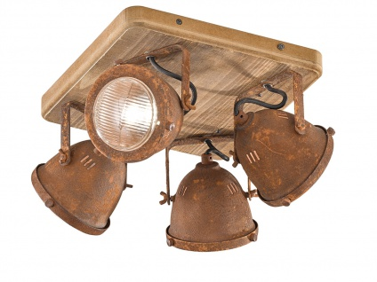 4 flammiger Industrial LED Deckenstrahler dimmbar - Holz & mit Metall rostfarben