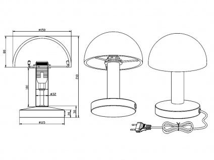LED Touch Nachttischlampen Rostfarben mit Glasschirm dimmbar - fürs Schlafzimmer - Vorschau 5