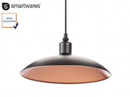 Hängelampe 32cm Industrie Look mit Filament LED, Metall schwarz bronze, Pendel