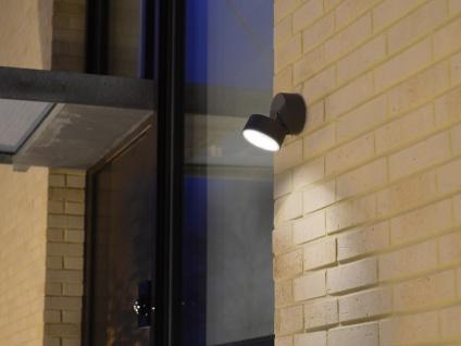 Runde LED Außenwandleuchte mit 90° schwenkbarem Kopf ALU Anthrazit 9, 4cm? medium - Vorschau 4