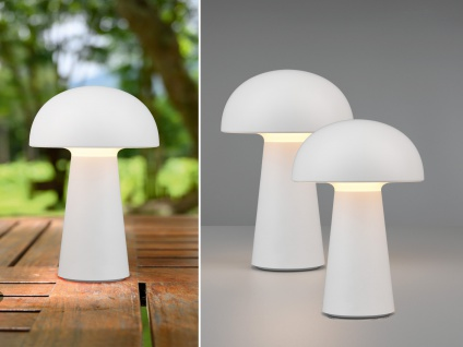 Dimmbare LED OUTDOOR Tischleuchte 21cm 2er SET Akku USB Anschluß in Weiß