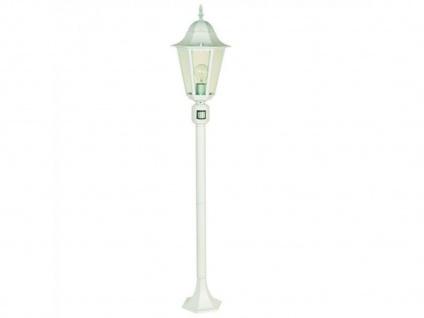 Wegeleuchte Design klassisch weiß mit Bewegungsmelder, Gartenlaterne Außenlampe
