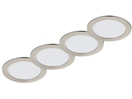LED Einbaustrahler Decke 4er Set rund dimmbar Nickel matt 18W IP44 Deckenleuchte