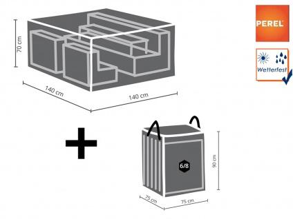 Schutzhüllen Set: Abdeckung 140x140cm für Garten Lounge + Hülle für 6-8 Auflagen - Vorschau 1