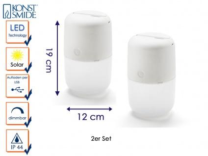 2 Solar LED Leuchte 3-Stufen Dimmer & USB-Kabel, IP44, Weiß, Gartenbeleuchtung