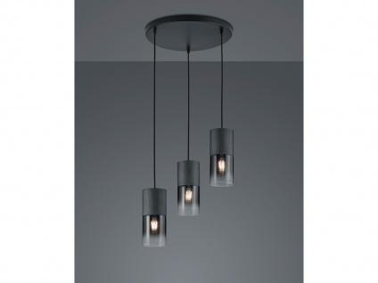 3 flammige LED Rauchglas Pendelleuchte über Kochinsel Esstisch, Zylinder schwarz