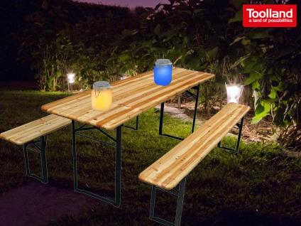 Set: Klappbare Bierzeltgarnitur aus Holz mit 2 Deko Solarleuchten, Gartenmöbel