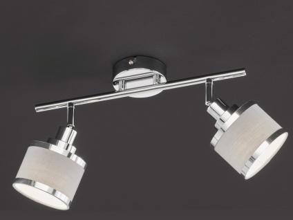 LED Deckenstrahler runde Lampenschirme aus Stoff 2 Spots schwenkbar Deckenlampen
