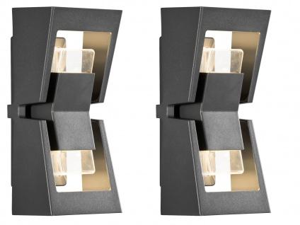 2er-Set dimmbare UP/DOWN Außenwandleuchten POTENZA austauschbares LED Modul