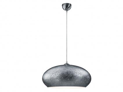 Retro LED Pendelleuchte Lampenschirm Metall in Silber Ø 50cm -edle Esstischlampe