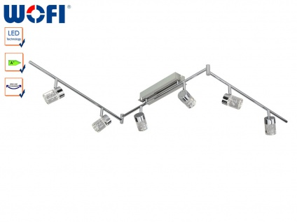 Schwenkbare LED Deckenleuchte Chrom / Acrylglas, Wofi-Leuchten