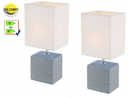 2er Set Globo Tischleuchte GERI Keramik grau, Stoff weiß, Tischlampe Wohnraum
