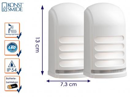 2er-LED Wandaufbauleuchten Nachtlicht PRATO Bewegungsmelder batteriebetr. weiß