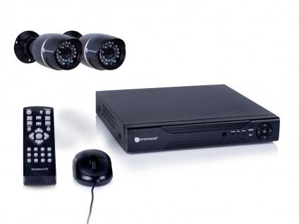 4-Kanal Überwachungssystem, 2 Kameras, 500GB, per App bedienbar