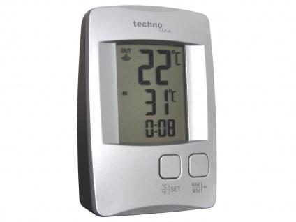Temperaturstation mit Quarzuhr, silber, inkl. Funksender TX 9116 - Vorschau 3