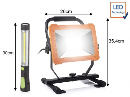 SET: 50Watt LED Baustrahler & kabellose Werkstatt Handlampe mit Magnet & Haken