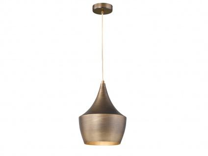 Design Retro Pendelleuchte mit Metall Schirm in Braun Ø 25cm E27 - Esstischlampe - Vorschau 1