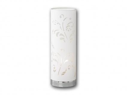 Design Tischleuchte FLORA Stoffschirm weiß mit Dekor, Nachttischlampe Wohnraum
