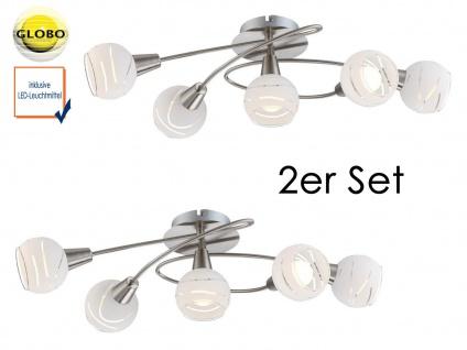 2er Set LED Deckenleuchten 5flammig Schirme Glas, Deckenlampen Strahler Wohnraum