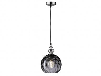 Pendelleuchte Kugelleuchte Silber matt Glas Rauchfarbig Ø 20cm E27 Hängeleuchte
