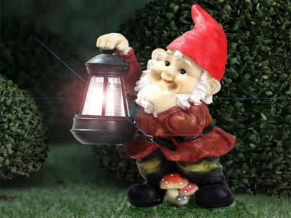 Gartendeko Außenlampe - LED Zwerg Solarfigur, Teich-, Wiesen- & Wegebeleuchtung