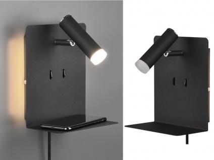 LED Wandleuchte Schwarz mit Leselampe USB Anschluss Ablage 2 Wandlampen für Bett