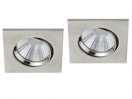 2 LED Einbaustrahler Decke eckig schwenkbar dimmbar Nickel matt 5, 5W Deckenlampe