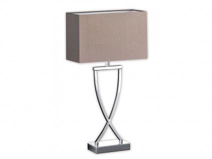 Tischleuchte mit Stoff / Textil Lampenschirm Braun - Nachttischlampe Stoffschirm
