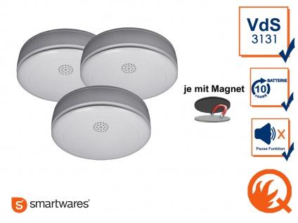 3er-Set Rauchmelder 10 Jahres Batterie VdS & Q-Siegel mit Magnetmontage