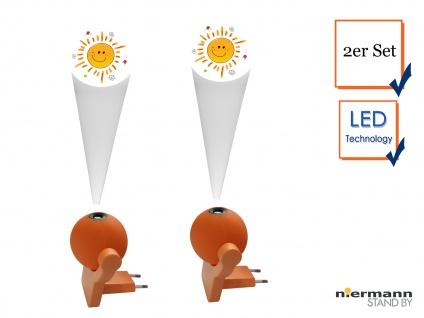 2er Set LED Steckdosenlicht LED-Projektor Farbwechsler SONNE Dämmerungssensor